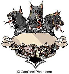 cerberus, デザイン, テンプレート, ヘビ, 黒