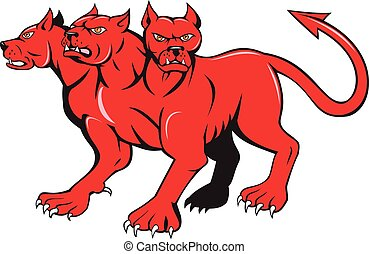 Illustration of cerberus, in Greek and Roman mythology, a multi-headed usually three-headed dog, or hellhound with a serpent's tail, a mane of snakes lion's claws done in cartoon style.