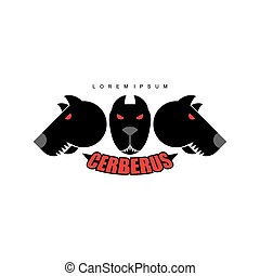 Cerberus-Warrior dog. Logo of  heads of dogs. Scary animal with evil red eyes.
