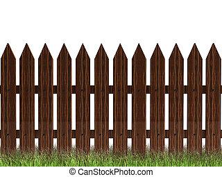 cerca de madera, con, pasto o césped