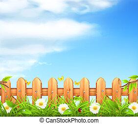 cerca, de madera, primavera, plano de fondo, vector, pasto o...