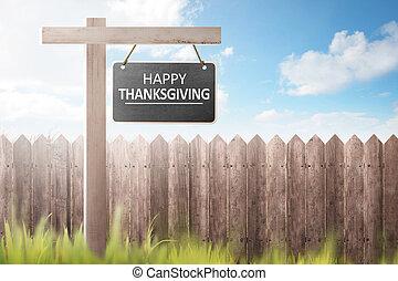 cerca de madera, y, pasto o césped, con, feliz, acción de gracias, mensaje, en, signboard