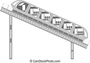 cerca, funicular, abstratos, trilhos, experiência., carro., branca, imagem, thecable