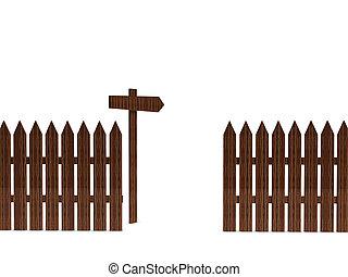 cerca madeira, com, um, signpost