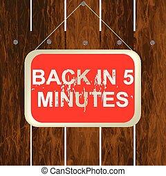 cerca, madeira, costas, sinal, 5, penduradas, minutos