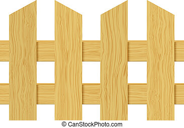cerca madeira, isolado, branco, experiência., vetorial, illustration.