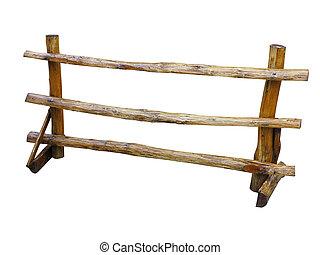 cerca, madeira, sobre, fazenda, isolado, branca