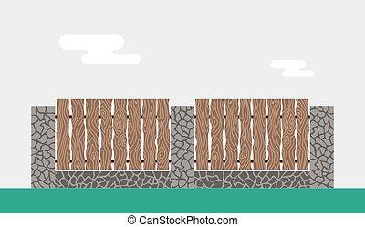 cerca pedra, madeira, isolado, fundo, noturna