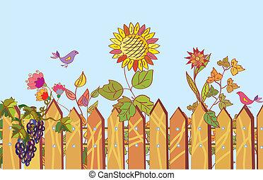 cerca, y, flores, caricatura, frontera, en, verano, con, pájaro