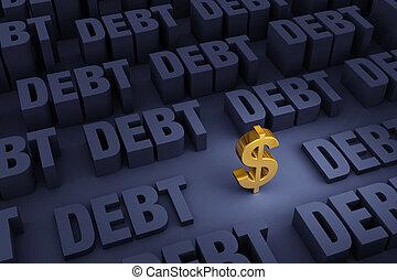 cercado, levantar, dívida