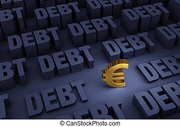 cercado, levantar, dívida, euro