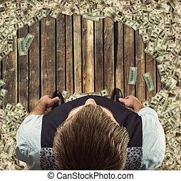 cercado, posição homem, dólares