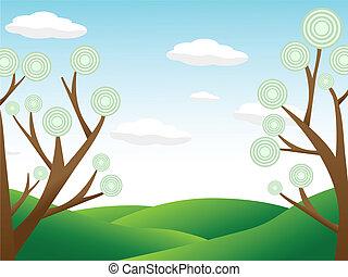 cercar, abstratos, cou, colina, árvores