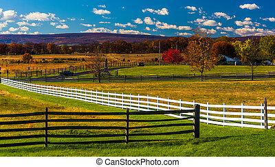 cercas, pennsylvania., gettysburg, campos