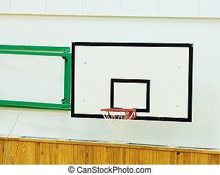 cerceau, basket-ball, gymnase, porté, vieux, mur blanc, shool
