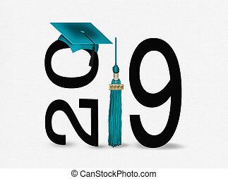 cerceta, 2019, negro, graduación, borla, gorra