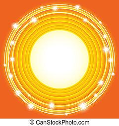 cerchi, arancia, stelle, fondo