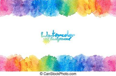 cerchi, arcobaleno, cornice, luminoso, acquarello, colori