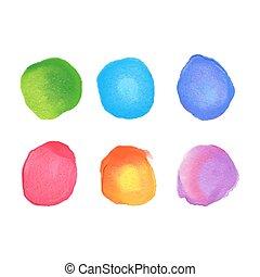 cerchi, arcobaleno, set, macchie, acquarello, vettore