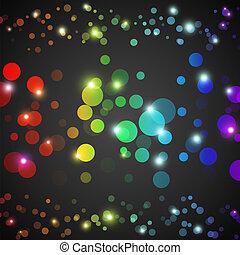 cerchi, arcobaleno, vettore, luci, astratto, carta da parati, illustrazione, scuro, fondo., ardendo, presentation., festa, divertente, tuo, design.