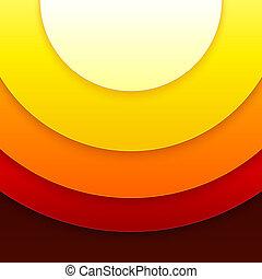 cerchi, astratto, vettore, fondo, arancia, rosso