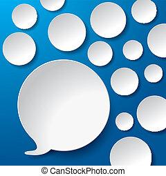 cerchi, blu, bolle, discorso, fondo