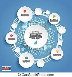 cerchi, blu, infographic, fondo, ciclo