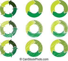 cerchi, colorare, sostenibile, verde, freccia