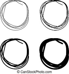 cerchi, disegnato, set, scarabocchio, mano