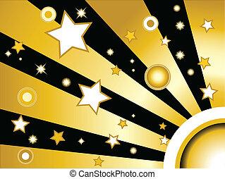 cerchi, dorato, stelle, fondo