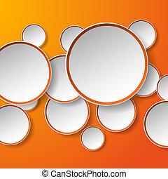 cerchi, eps10, astratto, illustrazione, carta, fondo., forma, vettore, discorso, arancia, bolle, bianco