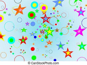 cerchi, fondo, stelle