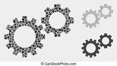cerchi, gearwheels, squadre, collagi, icona