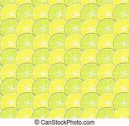 cerchi, limone, agrume, modello, seamless, luminoso, calce