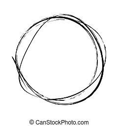 cerchi, mano, nero, disegnato, bianco, scarabocchio