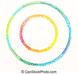 cerchi, pastello, cima colorita, due, disegnato, gessi, vista