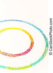 cerchi, pastello, colorito, foto, gessi, due, raccolto, disegnato
