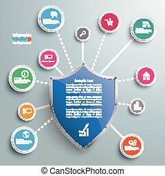cerchi, rete, protezione, scudo, infographic