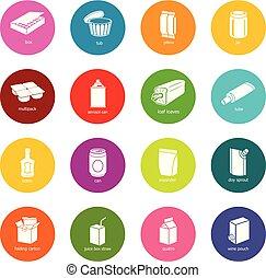 cerchi, set, colorito, pacchetto, icone, vettore, tipi