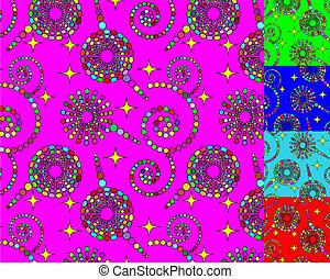 cerchi, set, stelle, seamless, spirali, fondo