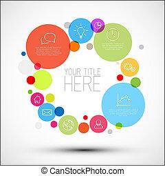 cerchi, vettore, descrittivo, diagramma, infographic, vario...