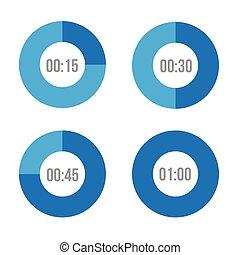 cerchi, vettore, timer, icone
