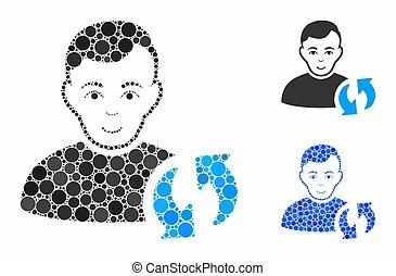 cerchio, aggiornamento, utente, mosaico, icona, punti