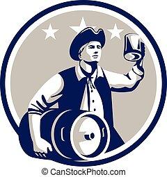 cerchio, americano, birra, barilotto, portare, retro, patriota