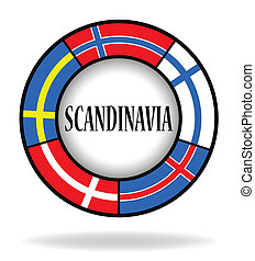 cerchio, bandiere, scandinavo