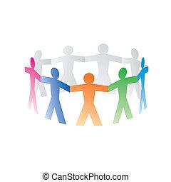 cerchio, carta, colorito, persone
