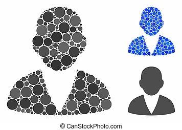 cerchio, cliente, punti, mosaico, icona