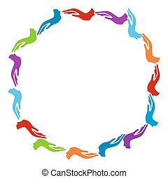 cerchio, colorito, mani