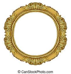 cerchio, cornice, oro
