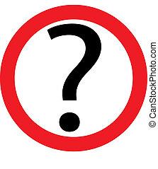 cerchio, domanda, rosso, marchio